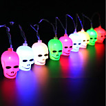 1set Halloween Ghost Head Lamps String Led Light Bar16 Lamp Holder 3M Colorful 3 AA Battery powered(not include Battery