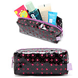 Quadrate Black Patent Leather Rose Hollow Loving Heart Make up Cosmetics Bag Cosmetics Storage