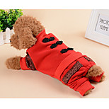 Dog Jumpsuit Dog Clothes Lolita Solid Red Costume For Pets