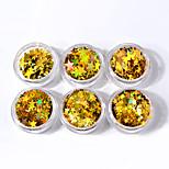 6box различных размеров золотых пятиконечных звездных блесток лазерных красочных блесток украшений для ногтей