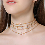 Women's Choker Necklaces Rhinestone Star Rhinestone Alloy Multi Layer Fashion Personalized Luxury Jewelry For Gift Evening Party
