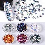6 couleurs 3d diamant forme solide laser paillettes colorées 1g / boîte