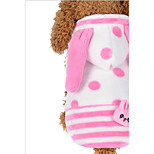 Cat Dog Hoodie Dog Clothes Plush Fabric Spring/Fall Winter Keep Warm Animal Halloween Christmas Polka Dots Blue Pink For Pets