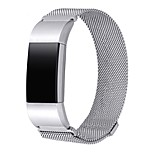 Metal Band for Fitbit Charge 2Jewelry Accessories Bracelet with Magnetic Fastener-silver