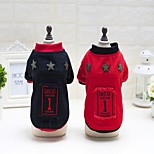 Cat Dog Coat Sweater Jumpsuit Pajamas Jersey Dog Clothes Party Casual/Daily Keep Warm Sports Christmas New Year's Letter & Number Black