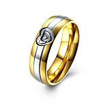 Men's Band Rings Basic Stainless Steel Round Heart Jewelry For Casual Date