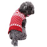 Dog Sweater Dog Clothes Christmas Snowflake Red Costume For Pets
