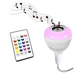 1pc Smart RGB Wireless Bluetooth Speaker Bulb Music Playing Dimmable 12W E27 24 Keys Remote Control AC85-265V