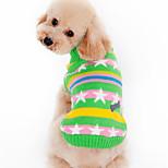Собака Свитера Одежда для собак Чинлон Зима Весна/осень На каждый день Звезды Черный Зеленый Для домашних животных