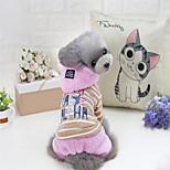 Собака Толстовки Одежда для собак Терилен Пух Хлопок Зима Симпатичные Стиль В полоску Серый Розовый Для домашних животных