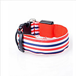 Dog Collar Strobe/Flashing Stripe Polyester Yellow Red Green Blue