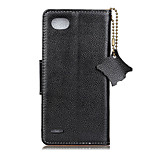 cheap -For Case Cover Card Holder Wallet Flip Full Body Case Solid Color Hard Genuine Leather for LG LG Q6