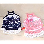 Dog Dress Dog Clothes Casual/Daily Princess Dark Blue Pink Costume For Pets