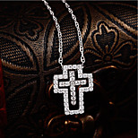 Men's Women's Pendant Necklaces AAA Cubic Zirconia Cross Sterling Silver Zircon Love Simple Style Jewelry For Gift Date