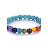 Men's Women's Strand Bracelet Turquoise Synthetic Amethyst Handmade Adjustable Turquoise Alloy Round Ball Jewelry For Gift Daily