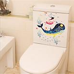Недорогие -Животные Наклейки Простые наклейки Наклейки для туалета, пластик Украшение дома Наклейка на стену Унитаз