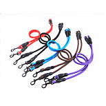 Dog Leash Dog Double Leashes Portable Solid Nylon Black Purple Coffee Red Blue