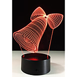 1 Set, Home Bedroom Acrylic 3D Night Light LED Lamp USB Mood Lamp, Available Battery, Colorful, 3W, Bell