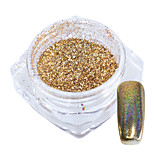 1g/Bottle Gold Rainbow Laser Holographic Chrome Pigment Shining Nail Art Glitter
