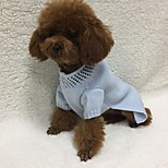 Dog Sweater Dog Clothes Casual/Daily Solid Light Blue Costume For Pets