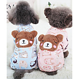 Dog Jumpsuit Dog Clothes Cotton Down Winter Spring/Fall Casual/Daily Cartoon Blue Pink For Pets
