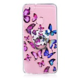 Case For Huawei P10 Lite Ring Holder Transparent Pattern Back Cover Butterfly Soft TPU for Huawei P10 Lite Huawei P8 Lite (2017)
