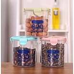 800ml Plastic Sealed Cans Kitchen Storage Box Transparent Food Canister