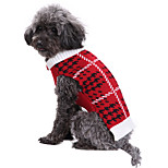 Dog Sweater Dog Clothes Acrylic Fibres Down Winter Spring/Fall Casual/Daily Plaid/Check Red Costume For Pets
