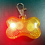 Dog Tag Strobe/Flashing Solid Heart Bone Plastic Yellow Red