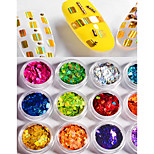 12 color  Rectangles Laser Colorful Sequins 1g/box