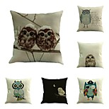 Set Of 6 Vintage Owl Pattern Pillow Cover Personality Square Home Decor 45*45Cm