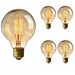 5pcs G80 40W Incandescent Vintage Edison Light E27 Warm White Color Squirrel Cage Filament AC220-240V