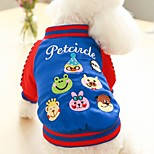 Dog Vest Dog Clothes Cotton Down Winter Spring/Fall Casual/Daily British Red Blue For Pets