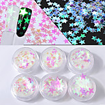 6box Different Sizes of Symphony Five Pointed Star Sequins Laser Colorful Sequins Nail Decorations