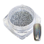 cheap -1g/Bottle Nail Art Gorgeous Silver Shining Glitter Powder Rainbow Holographic Chrome Glisten Silver Pigment Manicure Dust Decoration 05