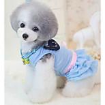 Собака Платья Одежда для собак Хлопок Весна/осень На каждый день Принцесса Синий Розовый Костюм Для домашних животных