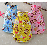 Dog Vest Dog Clothes Breathable Casual/Daily Cartoon Yellow Blue Pink Costume For Pets