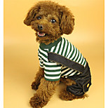 Dog Jumpsuit Dog Clothes Warm Lolita Stripe Dark Blue Green Costume For Pets