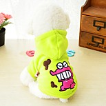 Dog Hoodie Dog Clothes Fleece Plush Fabric Winter Spring/Fall Casual/Daily Cartoon Black Red Green For Pets