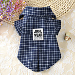 Dog Dog Clothes Casual/Daily Plaid/Check Dark Blue Costume For Pets
