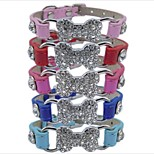 Dog Collar Adjustable Solid Bone PU Leather Red Blue Pink