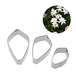 3Pcs Stainless Steel Fondant Cake  Flower Cookie Cutters Gardenia Petal Mold
