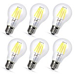 6pcs A60(A19) 4W COB LED filament Bulbs E27 Warm/Cool White Color Decorative Edison Style Vintage LED Light Bulb AC220-240V