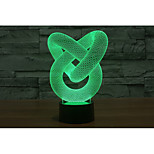 1 Set, Home Bedroom Acrylic 3D Night Light LED Lamp USB Mood Lamp, Available Battery, Colorful, 3W, Ring