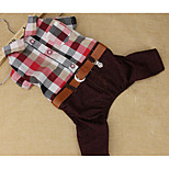 Dog Jumpsuit Dog Clothes Breathable Casual/Daily Plaid/Check Red Blue Costume For Pets