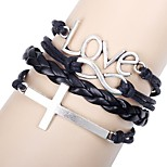 Men's Women's Leather Bracelet Love Fashion Leather Alloy Round Cross Jewelry For Daily Date