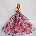 Вечеринка Платья Для Кукла Барби Фиалково-розовый Платья Для Девичий игрушки куклы