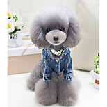 Dog Vest Dog Clothes Denim Spring/Fall Winter Casual/Daily Geometic Blue For Pets