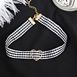 Women's Choker Necklaces Jewelry Heart Line Cloth Alloy Basic Cute Style Fashion Vintage Jewelry For Party Casual New Year Going out
