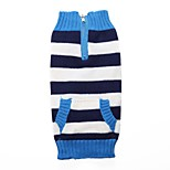 Dog Sweater Dog Clothes Acrylic Fibres Down Winter Spring/Fall Casual/Daily Stripe Red Blue Costume For Pets